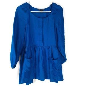 French Connection Blue Light Tunic Top EUC Size 10